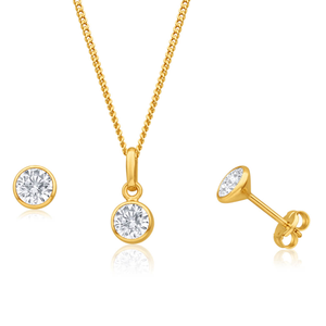 9ct Yellow Gold Zirconia Jewellery Set