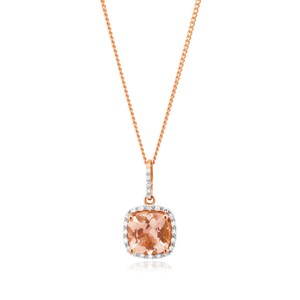 9ct Rose Gold Diamond + Morganite Pendant