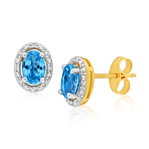9ct Yellow Gold Blue Topaz + Diamond Stud Earrings
