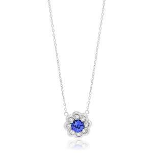Sterling Silver Tanzanite + White Zircon Pendant