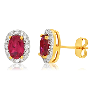 9ct Yellow Gold Created Ruby + Diamond Stud Earrings
