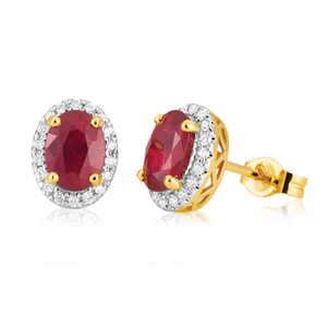 9ct Yellow Gold Natural Enhanced/Treated Ruby and Diamond Stud Earrings