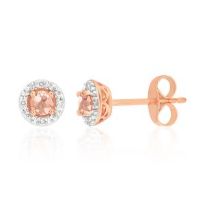 9ct Rose Gold Diamond + 3mm Morganite Stud Earrings