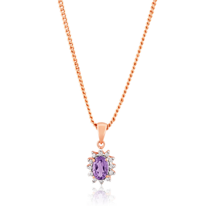 9ct Rose Gold 6x4mm Amethyst + 0.1 Carat Diamond Pendant