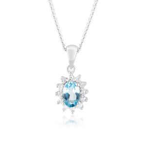 9ct White Gold 6x4mm Blue Topaz + Diamond Pendant