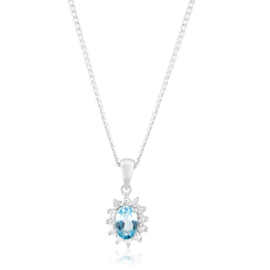9ct White Gold 6x4mm Blue Topaz + Diamond Pendant