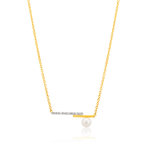 9ct Alluring Yellow Gold Diamond + Pearl Pendant With 45cm Chain