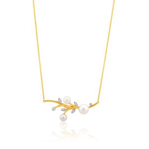 9ct Dazzling Yellow Gold Diamond + Pearl Pendant With 45cm Chain