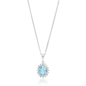 9ct White Gold Aquamarine + Diamond Pendant With 45cm Chain