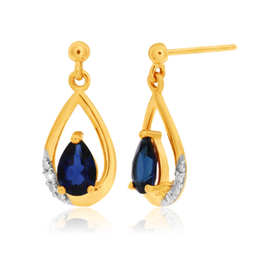9ct Yellow Gold Created Sapphire and Diamond Drop Earrings