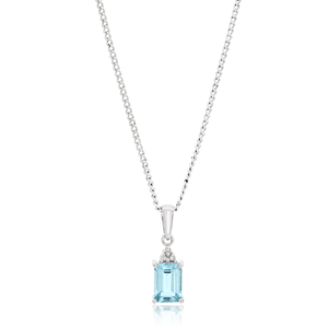 9ct White Gold Aquamarine Emerald Cut and Diamond Pendant