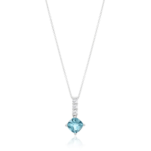 9ct White Gold Blue Topaz and Zirconia Pendant With 45cm Chain