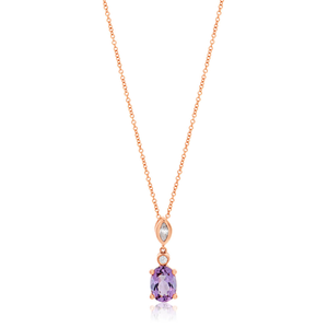 9ct Rose Gold Amethyst and Zirconia Pendant With 45cm Chain