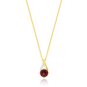 9ct Yellow Gold Garnet and Diamond Pendant With 45cm Chain