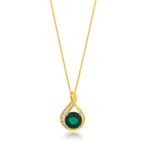 9ct Yellow Gold Created Emerald and Zirconia Pendant With 45cm Chain