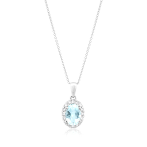 9ct White Gold Aquamarine 7x5mm and Diamond 0.13ct Pendant with 45cm Chain