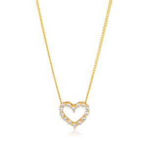 9ct Yellow Gold Cubic Zirconia Open Heart Pendant