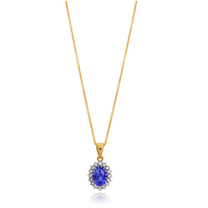 9ct Yellow Gold Tanzanite 7x5mm and Diamond 0.18ct Pendant with 45cm Chain