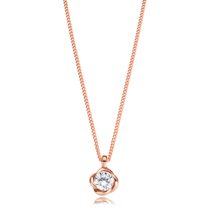 9ct Rose Gold Cubic Zirconia Flower Pendant