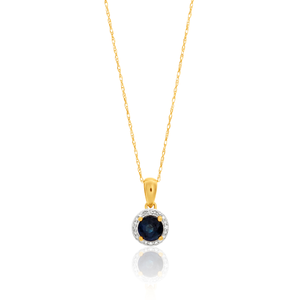 14ct Yellow Gold Natural Blue Sapphire + Diamond Pendant With 45cm Chain
