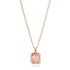 9ct Rose Gold Morganite Emerald Cut 10x8mm and Diamond 0.16 Pendant