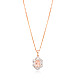 9ct Oval Cut Morganite and Diamond Floral Halo Pendant in Rose Gold