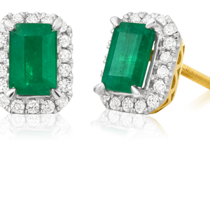 9ct Yellow Gold Natural Emerald 6x4mm and Diamond Stud Earrings