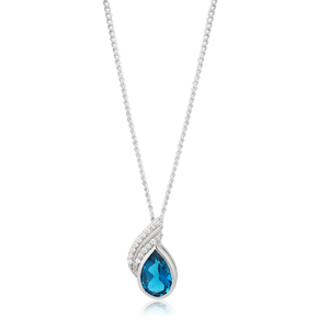 9ct White Gold London Blue Topaz 9x6mm Teardrop and Diamond Pendant