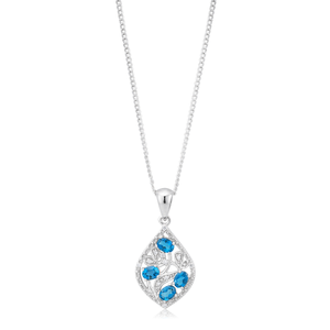 9ct White Gold London Blue Topaz 4x3mm and Diamond Pendant