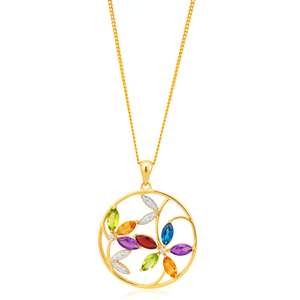 9ct Yellow Gold Multi Gemstone and Zirconia Flower 30MM Circle Pendant