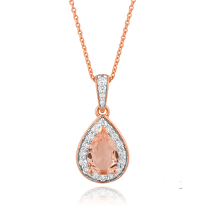 9ct Rose Gold 7x5mm Pear Morganite and 0.15 ct Diamond Pendant with 45cm Chain