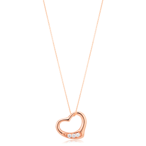 9ct Rose Gold Cubic Zirconia Open Heart Pendant on 45cm Chain