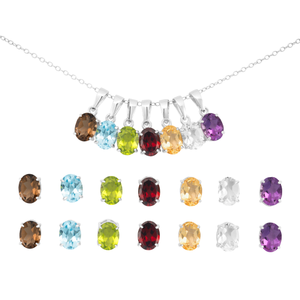 Sterling Silver Natural Gemstone Pendant & Earring Set with Sterling Silver Chain
