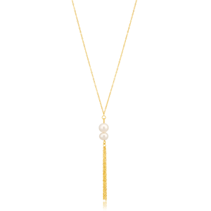 9ct Yellow Gold Freshwater Double Pearl Tassle Drop 45cm Chain
