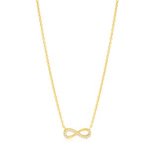 9ct Yellow Gold 45cm Zirconia Infinity Chain