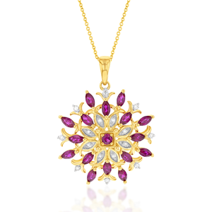 9ct Yellow Gold Created Ruby and Diamond 0.01ct Fancy Pendant with 45cm Chain