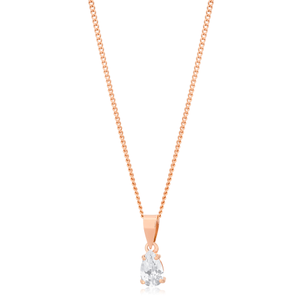 9ct Rose Gold Cubic Zirconia Teardrop Pendant