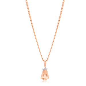 9ct Rose Gold Morganite Pendant with Diamonds