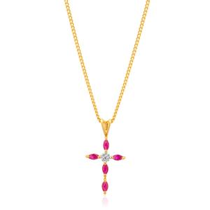 9ct Yellow Gold Ruby & Diamond Cross