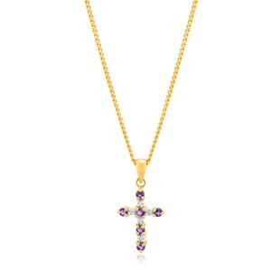 9ct Yellow Gold Amethyst & Diamond Cross