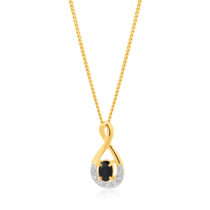 9ct Yellow Gold Natural Black Sapphire & Diamond Pendant