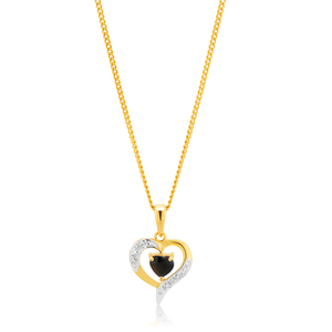 9ct Yellow Gold Black Sapphire & Diamond Pendant