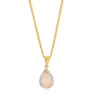 9ct Yellow Gold Opal & Diamond Pear Shape Pendant