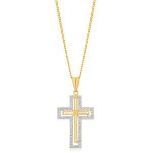9ct Yellow Gold Zirconia Cross Pendant