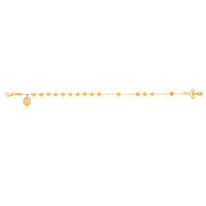 9ct Yellow Gold 19cm  Rosary Zirconia Bracelet