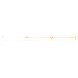 9ct Yellow Gold Pearl with Gold Heart Bracelet