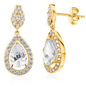 9ct Yellow Gold Pear Shape Drop Earrings