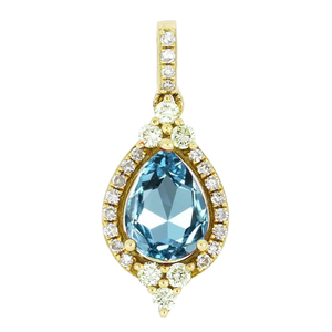 9ct Yellow Gold Aquamarine & Diamond Pendant
