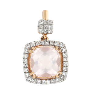 9ct Rose Gold Rose Quartz & Diamond Cushion Cut Pendant