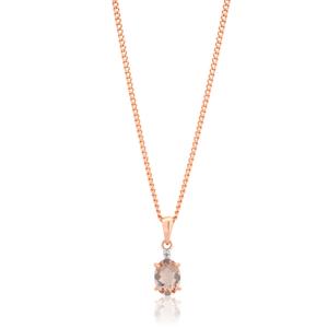 9ct Rose Gold Morganite Pendant with Diamonds